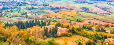 Tuscany panorama- landskap Fotografering för Bildbyråer