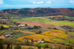 Tuscany panoramic landscape with fields Stock Photo