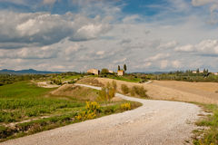 Tuscany. Panoramic view of scenic Tuscany landscape with road  to farm in the Chianti region, Tuscany, Italy Stock Photography