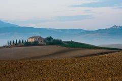 Tuscany, pienza, factory. Landscape in Tuscany near Montalcino, Pienza and Montepulciano Royalty Free Stock Photo
