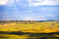 Tuscany Pienza medeltida by Siena Val D Orcia, Italien Royaltyfri Fotografi