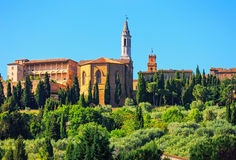 Tuscany, Pienza medieval village, church detail. Siena, Val d Or Stock Image