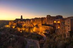 Tuscany, Pitigliano medieval village panorama sunset. Italy Stock Photo