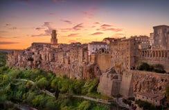 Tuscany, Pitigliano medieval village panorama sunset. Italy Royalty Free Stock Photos