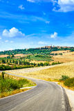 Tuscany, road to Pienza medieval village. Siena, Val d Orcia, Italy Stock Photography