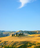Tuscany, rural landscape. Countryside farm and cypress trees. Tuscany, rural landscape. Countryside farm, cypresses trees, green field, blue sky and strange Royalty Free Stock Photos