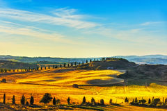 Tuscany, rural landscape. Countryside farm, green fields and cyp Royalty Free Stock Image