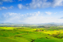 Tuscany, Rural Landscape near Volterra in spring, Italy. Stock Image