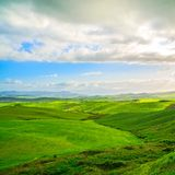 Tuscany, Rural Landscape near Volterra in spring, Italy. Stock Images