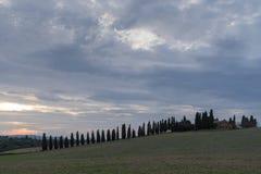 Tuscany, rural sunset landscape Stock Photos