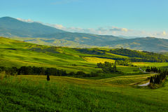 Tuscany, rural sunset landscape. Countryside farm Royalty Free Stock Photos