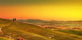 Tuscany, rural sunset landscape panorama and cypress trees. Ital Royalty Free Stock Image