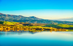 Free Tuscany, Santa Luce Lake Panorama At Sunset, Pisa, Italy Royalty Free Stock Photo - 89488465