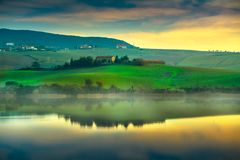 Tuscany, Santa Luce lake panorama on sunset, Pisa, Italy stock photos