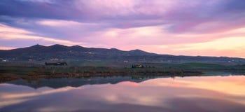 Tuscany, Santa Luce lake panorama on sunset, Pisa, Italy Royalty Free Stock Photos