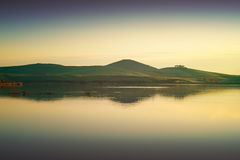 Tuscany, Santa Luce lake panorama on sunset, Pisa, Italy Stock Photo