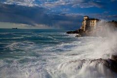 TUSCANY SEA. LIVORNO ITALY LOCATION : ROMITO CLIFF Stock Image