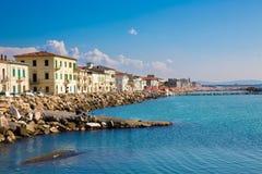 Tuscany sea town. Small italian town at Tuscany seashore royalty free stock photos