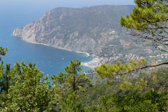 Tuscany Sea view. From above the coast of Cinque Terre royalty free stock photography