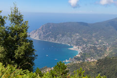Tuscany Sea view. Frome above the coast of Cinque Terre royalty free stock photos