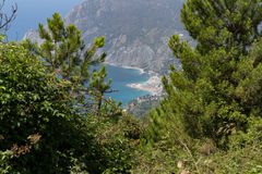 Tuscany Sea view. Frome above the coast of Cinque Terre royalty free stock image