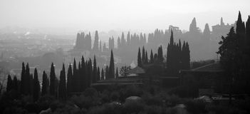 Tuscany silhouette Stock Photography