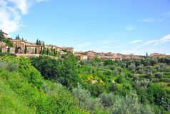 Tuscany small town on a hill , Italy Royalty Free Stock Images