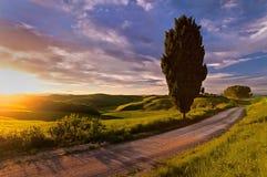 Tuscany solnedgång Arkivfoto