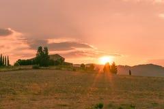 Tuscany solnedgång Royaltyfri Bild