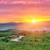 Tuscany soluppgång Arkivbilder