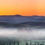 Tuscany soluppgång Arkivbild