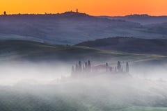Tuscany soluppgång Arkivfoton
