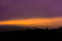 Tuscany soluppgång Royaltyfri Bild