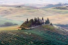 Tuscany soluppgångbygd, Italien Royaltyfri Foto