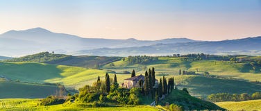 Tuscany at spring. Beautiful spring landscape in Tuscany, Italy stock photo