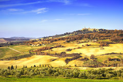 Tuscany spring, Pienza medieval village. Siena, Italy Stock Photography