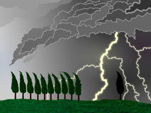 Tuscany  spring Thunderstorm. Graphic elaboration of a VERY violent thunderstorm in Tuscany Royalty Free Stock Images