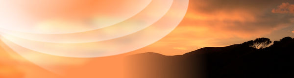 Tuscany Sunset Holiday Banner Stock Image