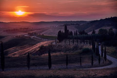 Tuscany Sunset Landscape Royalty Free Stock Photography