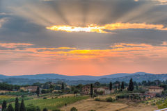 Tuscany sunset Stock Image