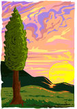Tuscany Sunset Vector Stock Photo