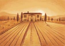 Tuscany teckning Royaltyfri Foto
