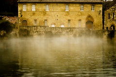 Tuscany therme,bagno Vignone. The therme of bagno Vignone royalty free stock photography
