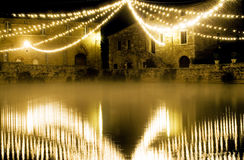 Tuscany therme at night,bagno Vignone. The therme of bagno Vignone royalty free stock photo