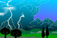 Tuscany Thunderstorm # 2, Bitm Stock Photo