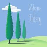 Tuscany, Toscana farm land vector illustration, background, design element Stock Photos