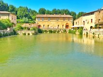 Tuscany town. Ancient tuscany town in italy on the river Stock Images