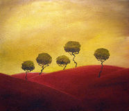Tuscany trees. Original acrylic painting of small group of Tuscany trees Stock Photo