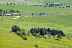 Tuscany - typical landscape in spring time. Tuscany - green typical landscape in spring time Royalty Free Stock Photos