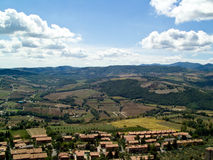 Tuscany and Umbria landscape. Aerial view of landscape of Tuscany and Umbria with town in foreground, Italy royalty free stock image